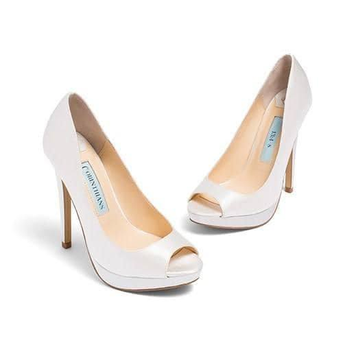 wedding shoes, bridal heels, bride flat, satin, peep toe, aria, ivory, main