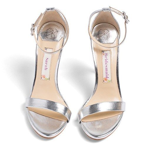 Bridal Shoes Ankle Strap High Heel - Samantha Silver - Kate Whitcomb Shoes