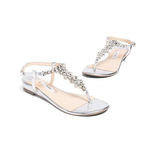 wedding flats, silver wedding sandals, rhinestone flat, kate whitcomb shoe, bella