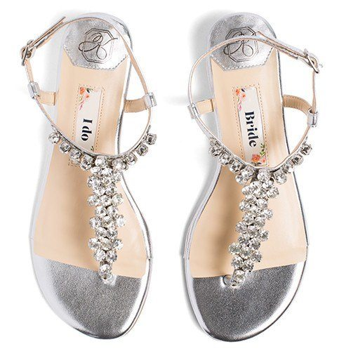 wedding flats, silver wedding sandals, rhinestone flat, kate whitcomb shoe, bella 2