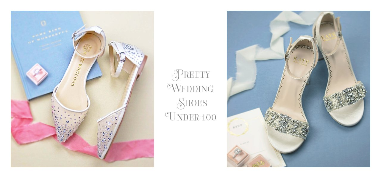 wedding shoes under 100, bridal flats, shoes for bride, lace, block heels, kate whitcomb