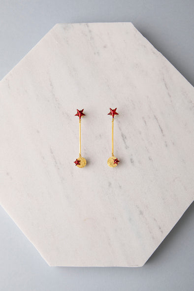 Star and small planet earrings red