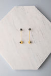 Star and small planet earrings black