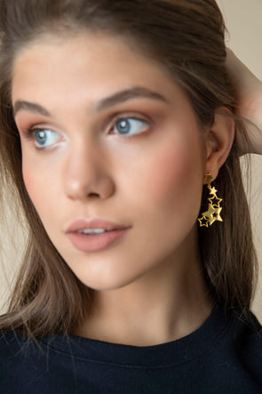 Hugging Stars gold-plated earrings