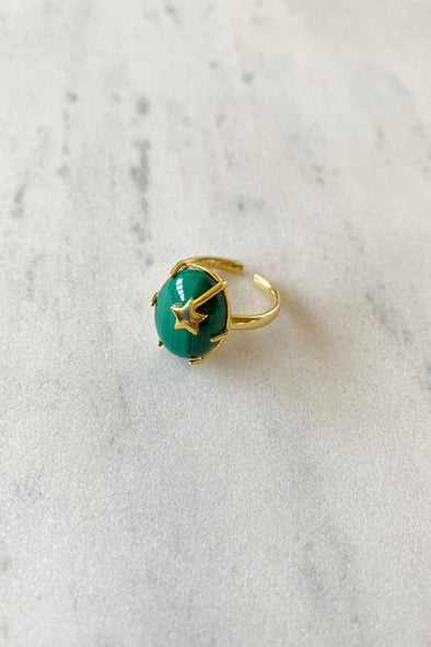 Star malachite ring