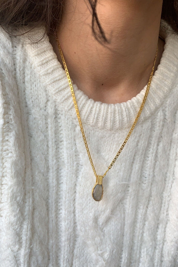 Labradorite Gold Charm Necklace