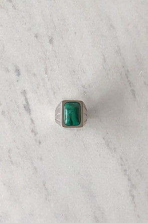 Malachite Silver Signet Ring