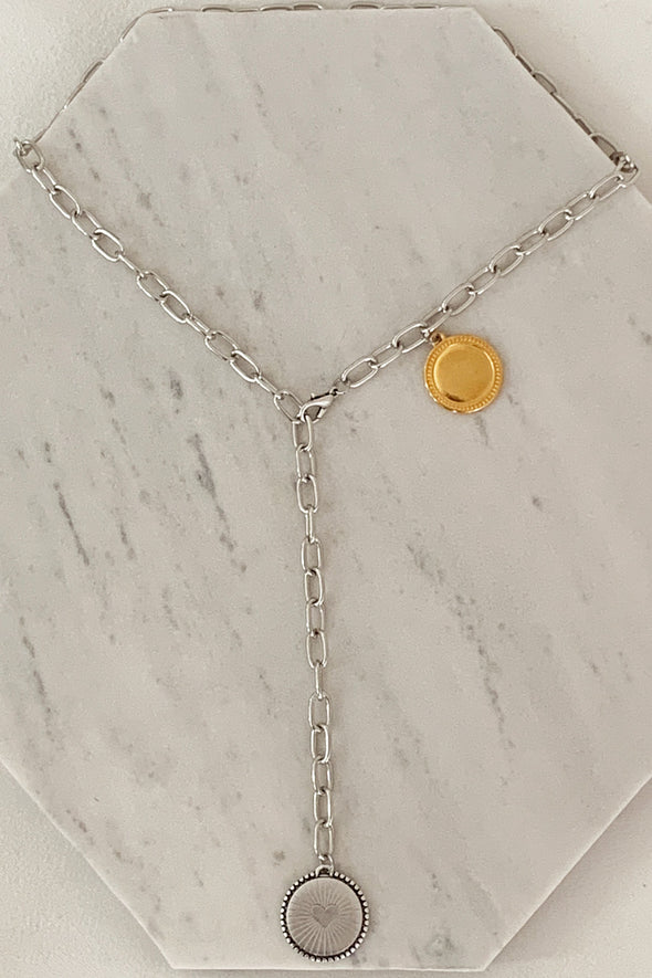 Silver and gold coin long necklace
