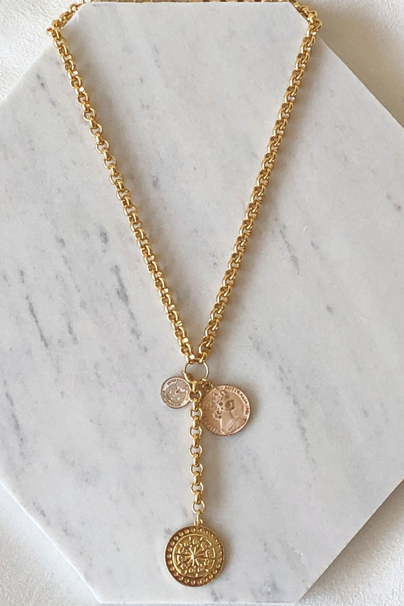 Triple coin long necklace