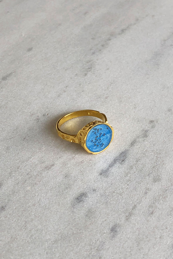 Turquoise color gold-plated ring