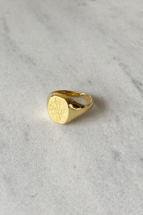 Wildflower Signet ring gold