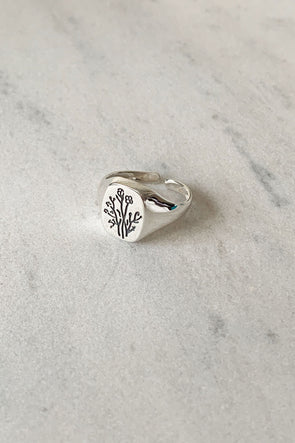 Wildflower Signet ring silver
