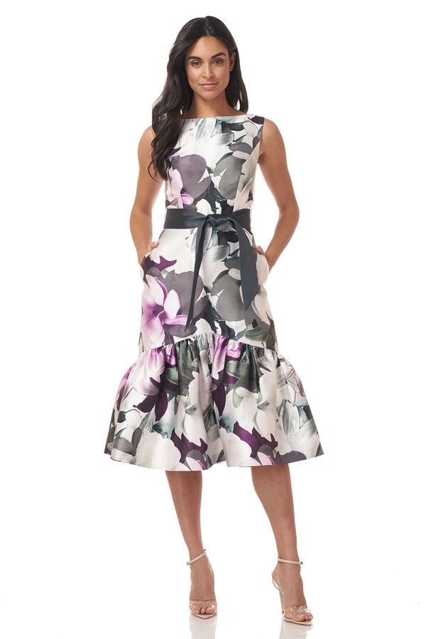 Printed Mikado T-Length Gown