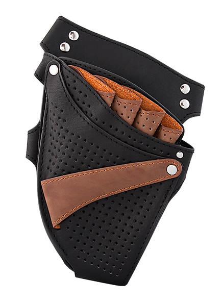 BLACK/BROWN LEATHER SCISSOR HOLSTER