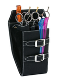 DOUBLE BELT LEATHER SCISSOR HOLSTER BLACK