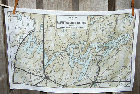 Kawartha Lakes circa 1905 Map Tea Towel