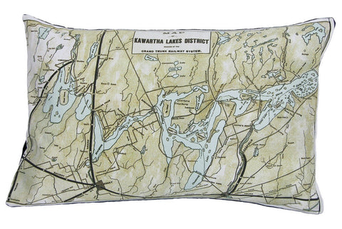 Kawartha Lakes Vintage Map Pillow