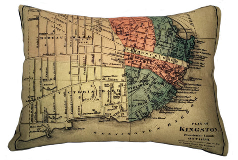 City of Kingston Vintage Map Pillow