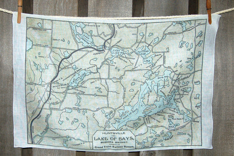 Lake of Bays Map Tea Towel