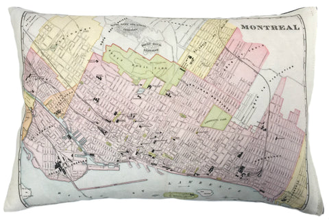 City of Montreal Vintage Map Pillow