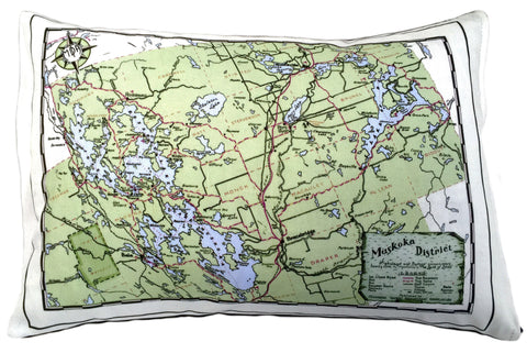 Muskoka Lakes District Vintage Map Pillow