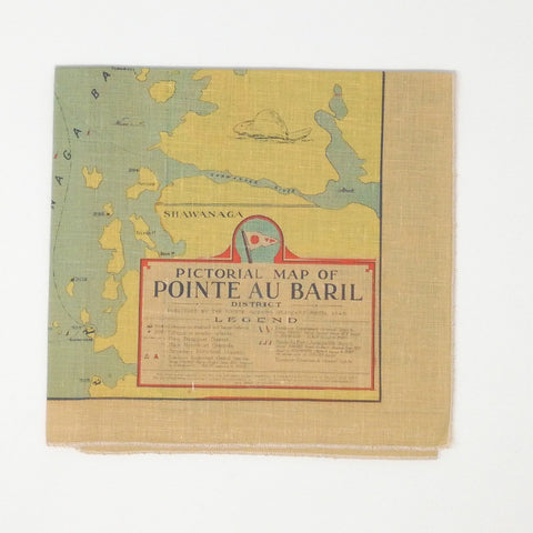 Pointe au Baril Vintage Map Tea towel