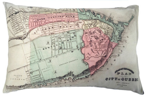 Quebec City Vintage Map Pillow