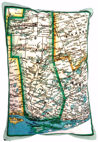 Rideau Lakes Vintage Map Pillow