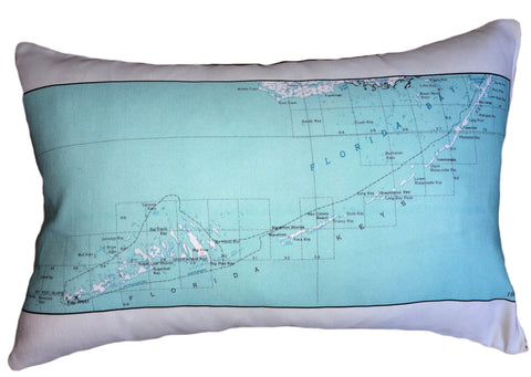 Florida Keys Vintage Map Pillow