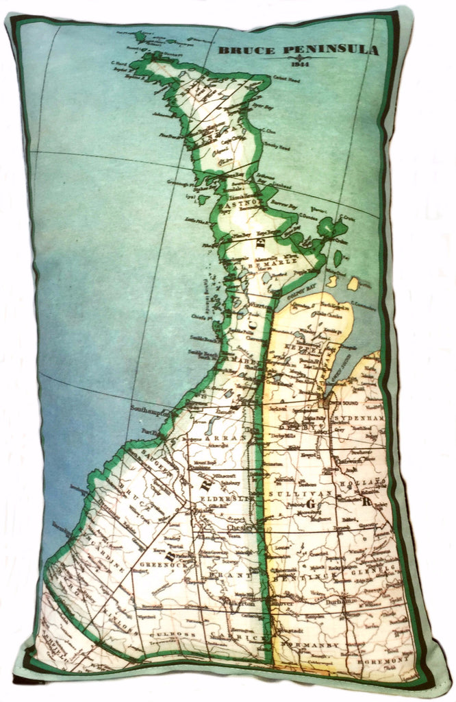 Bruce Peninsula Vintage Map Pillow Vintage Map Co