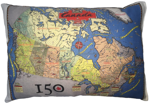 Canada's 150th Commemorative Map Pillow
