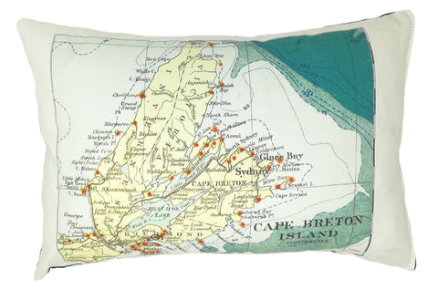 Cape Breton Vintage Map Pillow
