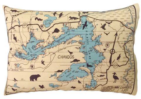 Chandos Lake Vintage Map Pillow