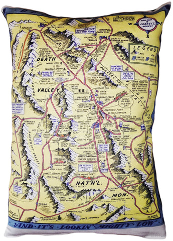 Death Valley Vintage Map Pillow