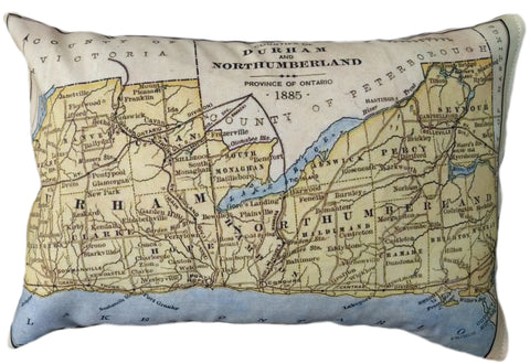 Durham County Vintage Map Pillow