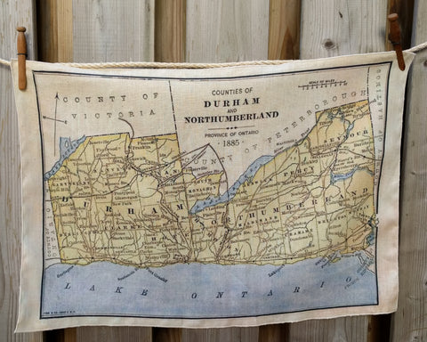 Durham County Vintage Map Tea Towel