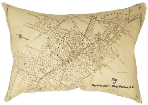 Durham NC Vintage Map Pillow