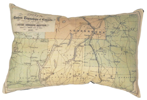 Eastern Townships Vintage Map Pillow
