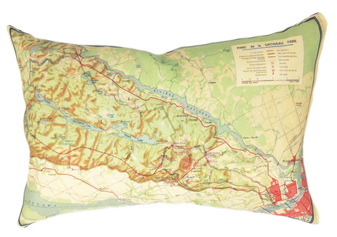 Gatineau Vintage Map Pillow