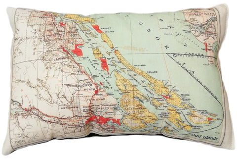 Gulf Islands/Saltspring Island Vintage Map Pillow