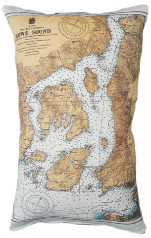 Howe Sound Vintage Map Pillow