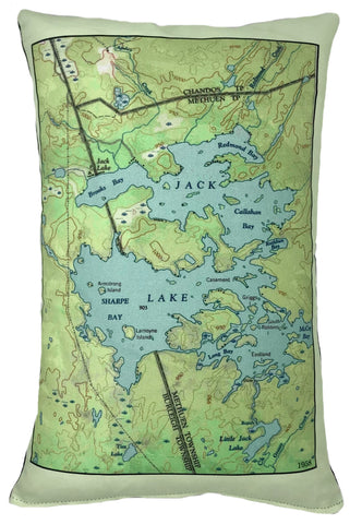 Jack Lake Vintage Map Pillow