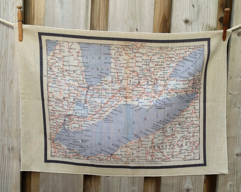 Lake Erie Vintage Map Tea Towel