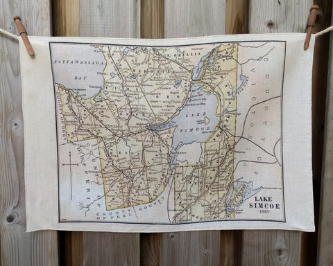 Lake Simcoe Vintage Map Tea Towel