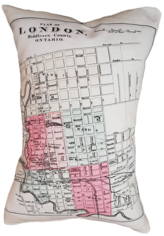 City of London Ontario Vintage Map Pillow