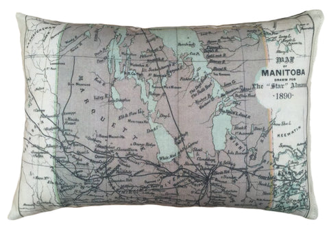 Manitoba Vintage Map Pillow
