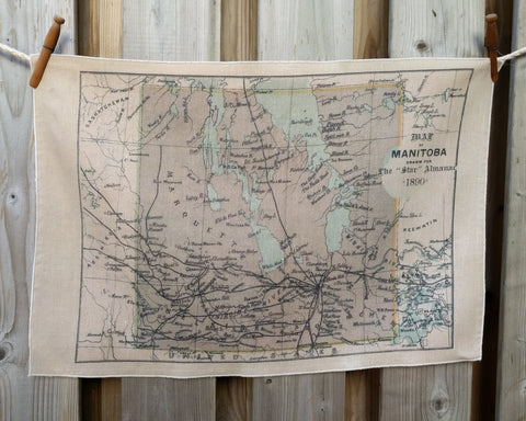 Manitoba Vintage Map Tea Towel