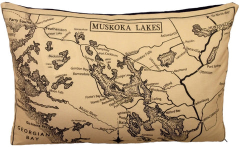 Muskoka Lakes Vintage Map Pillow