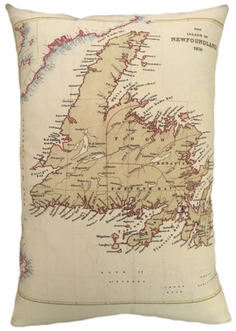 Newfoundland Vintage Map Pillow