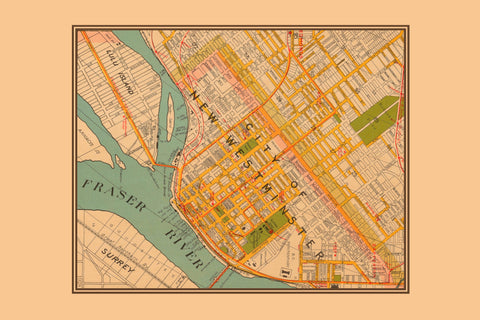 New Westminster Vintage Map Tea Towel